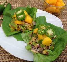 Tuna Lettuce Wraps with Mango and Jalapeno