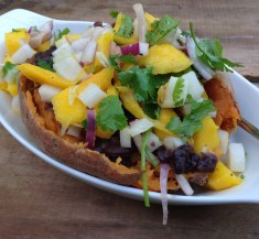 Mango and Black Bean Stuffed Sweet Potato