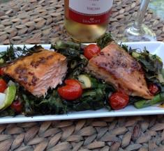 One-Pan Roasted Honey Mustard Salmon and Veggies