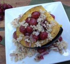 Roasted Acorn Squash and Red Grapes with Couscous