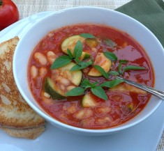 Tomato Soup with Barley and White Beans