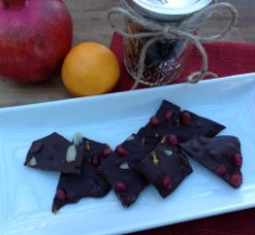 Dark Chocolate Bark with Pomegranates and Orange Zest
