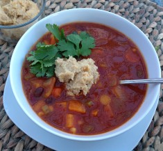 Slow Cooker Vegetable Chili with Cashew Cream