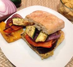Roasted Veggie Sandwich with Hummus