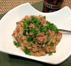 Brown Ale Risotto with Sausage and Spinach