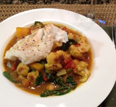 Cauliflower Mango and Spinach Curry with White Fish