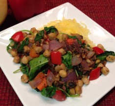 Chickpeas Florentine with Portobellos and Peppers