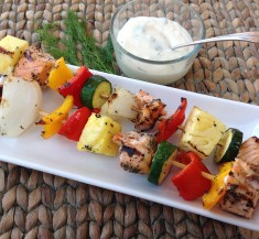 Salmon Kabobs with Creamy Dill Sauce