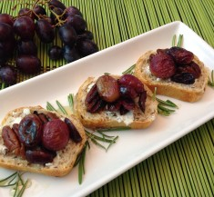Roasted Grape, Goat Cheese and Pecan Crostini