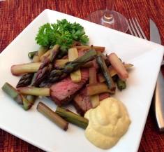Beef Tenderloin with Rhubarb and Asparagus