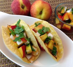 Grilled Chipotle Fish Tacos with Peach Salsa