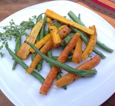 Simple Roasted Carrots and Green Beans