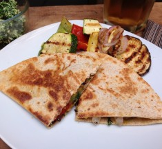 Grilled Veggie Quesadillas with Kale Pesto