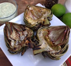 Grilled Artichokes with Cilantro Lime Dipping Sauce