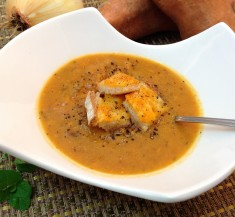 Roasted Sweet Potato Soup with Grilled Cheese Croutons