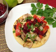 Kicked-Up Cranberry Turkey Tostadas