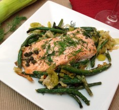 Oven Roasted Salmon over Creamy Green Beans