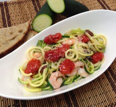 Creamy Zucchini Noodles with Shrimp and Roasted Tomatoes
