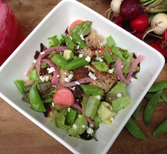 Panzanella Salad with Pickled Radishes and Onions
