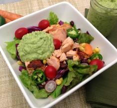 Salmon Taco Salad with Avocado Chimichurri