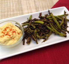 Grilled Green Beans with Curry Dipping Sauce